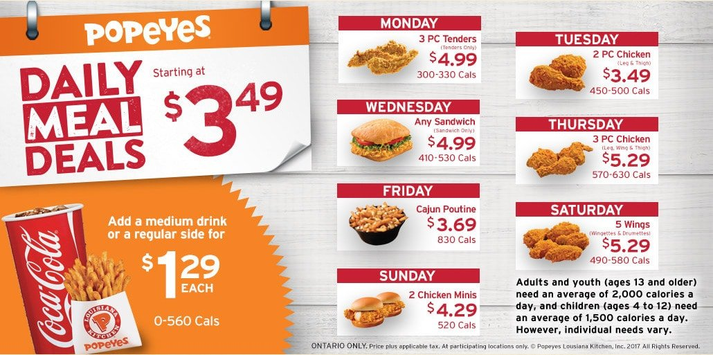 picture about Popeyes Coupons Printable named Popeyes Menu and Bargains