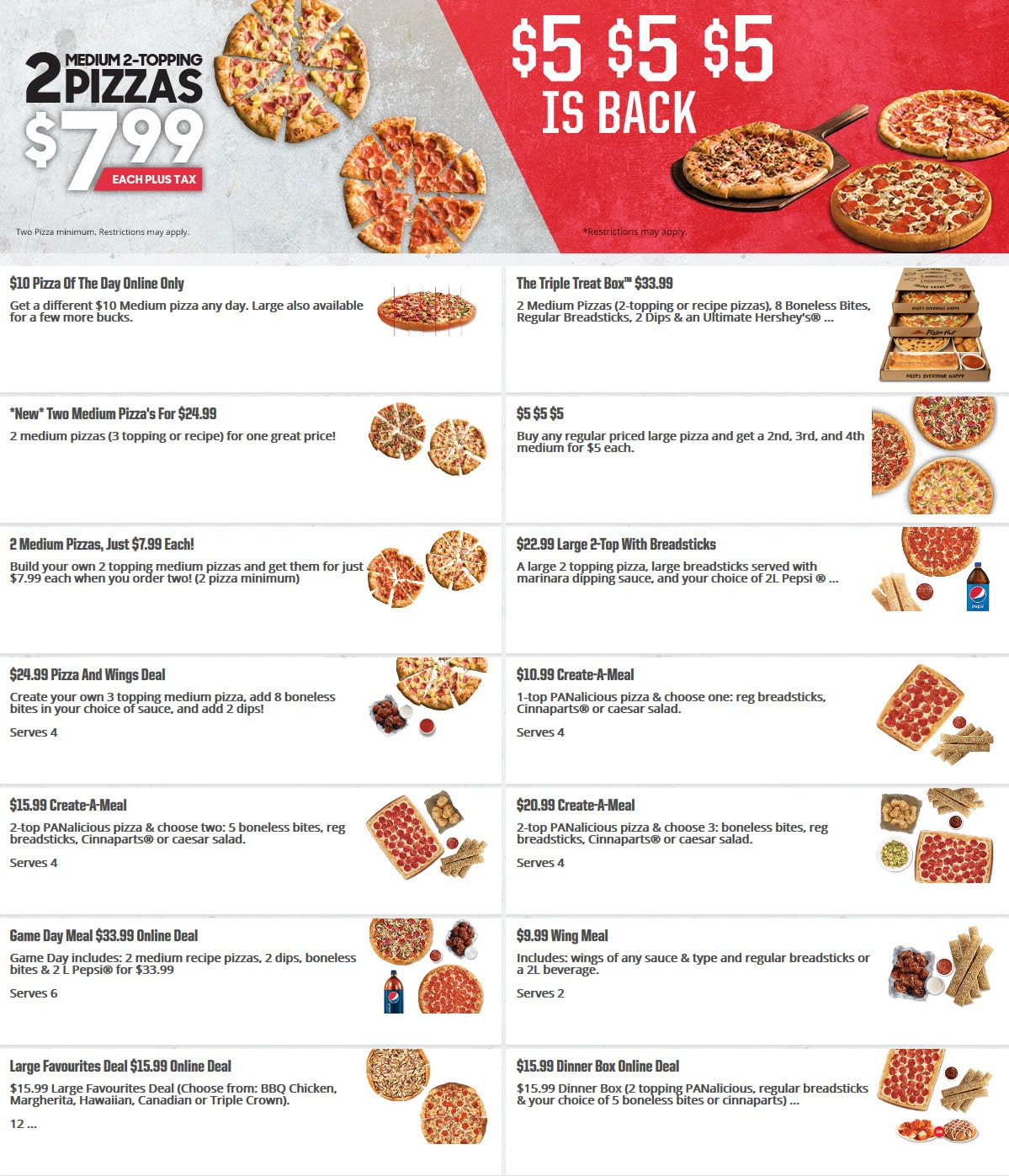 Pizza Hut Menu And Calories