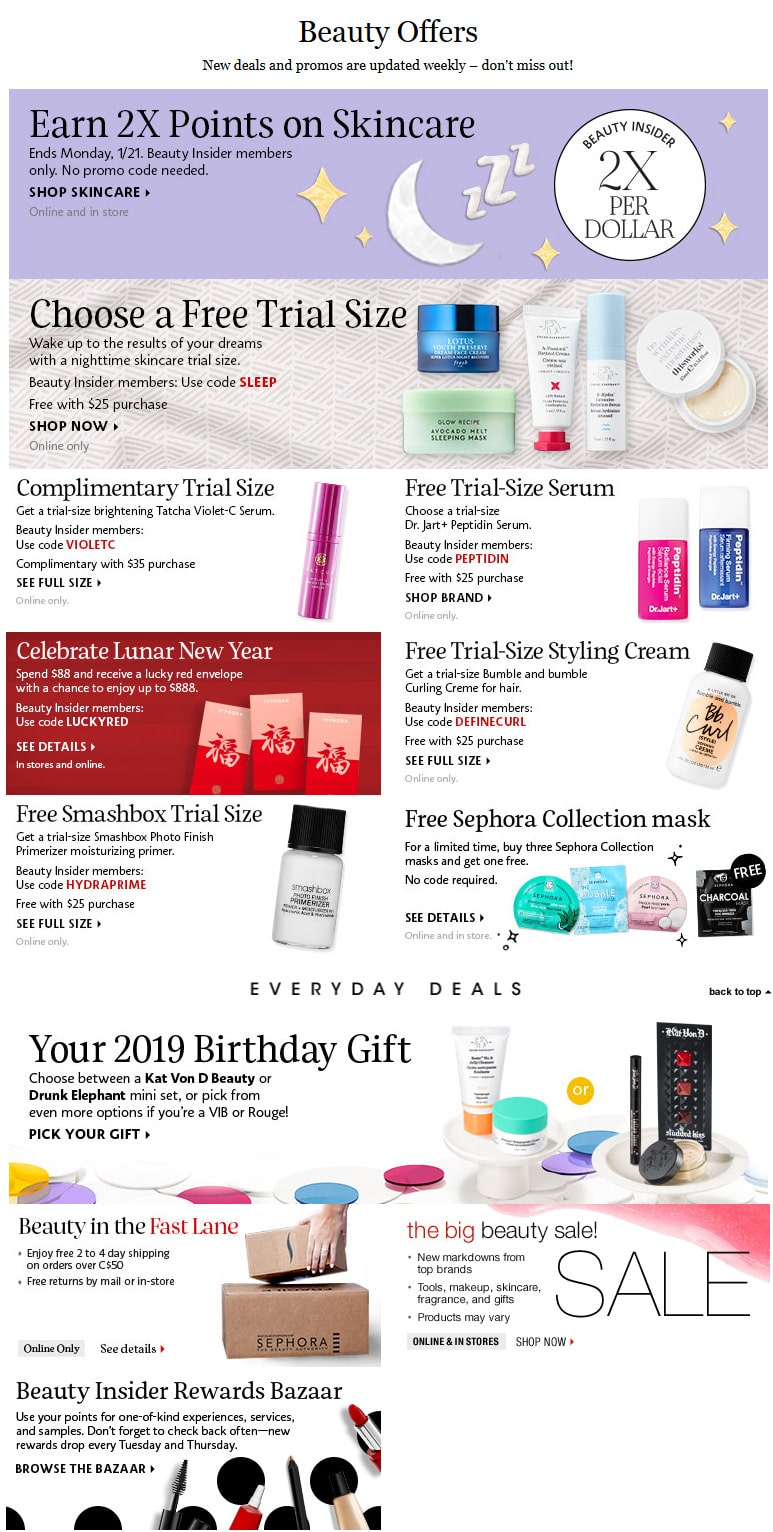 Sephora Canada Sales - Beauty Promo Codes and Free Gifts