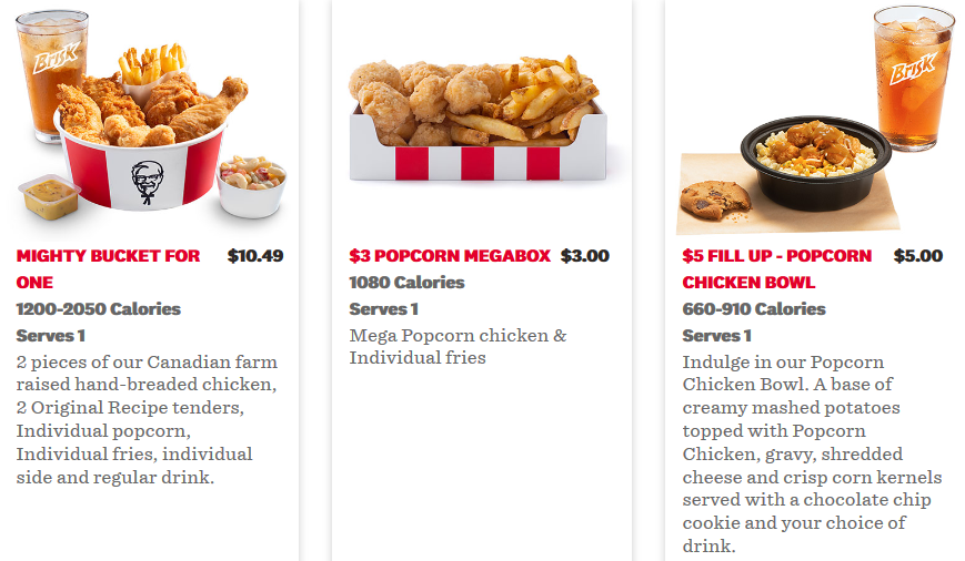 Kfc Canada Menu And Coupons Free Delivery