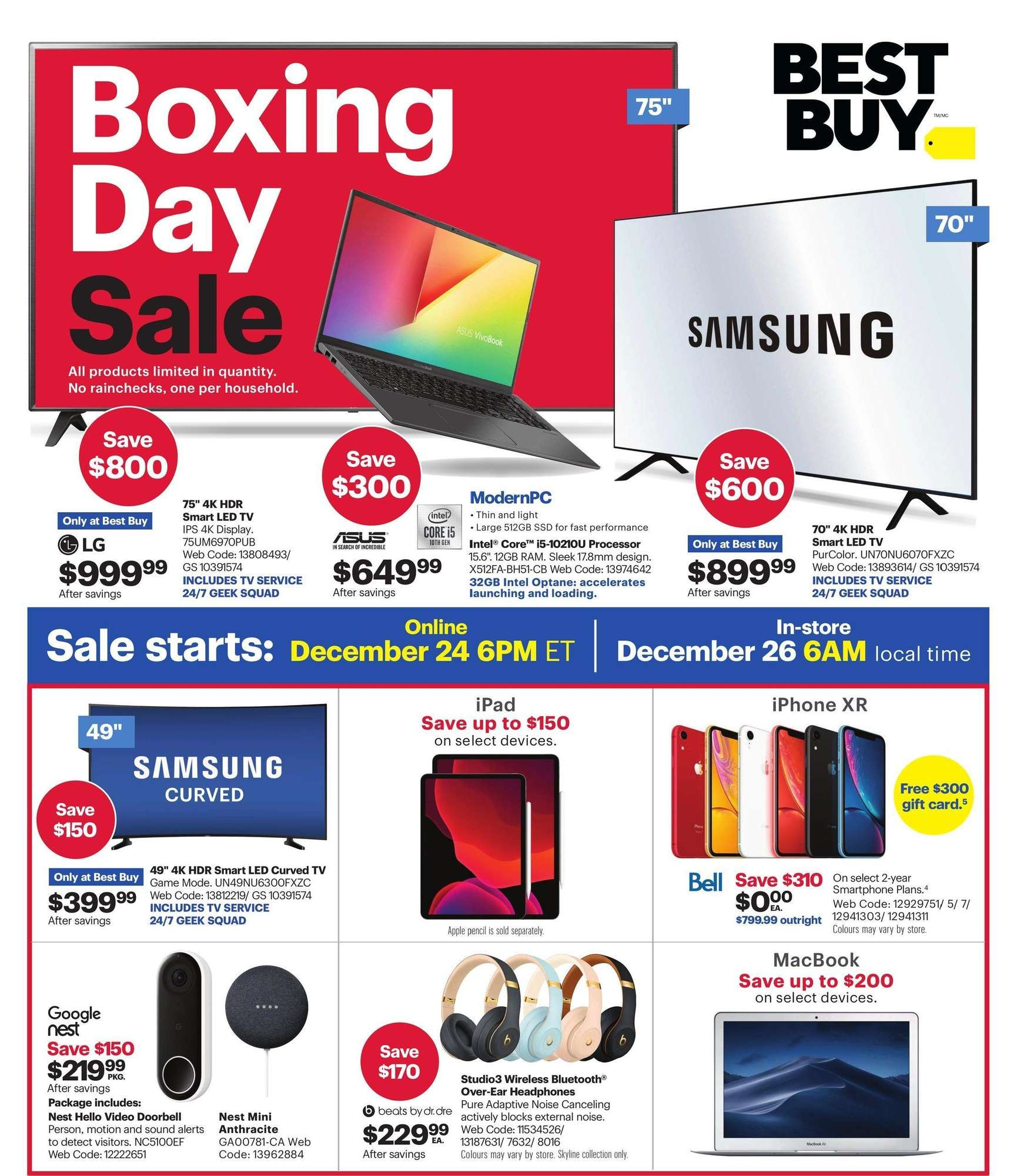Best Buy Boxing Day Flyer Sale 2020