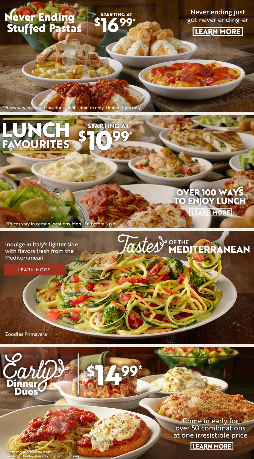 Olive Garden Menu Canada